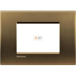 Рамка итальянский стандарт 3 мод прямоугольная, цвет Бронза, LivingLight, Bticino