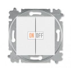 Выключатель 2-клавишный; кнопочный, цвет Белый/Ледяной, Levit, ABB