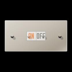 Выключатель 2-кл + Выключатель 2-кл кноп. НО (тумблер-конус) гориз, цвет Нерж. сталь, LS1912