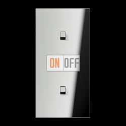 Выключатель 1-кл кноп. НО + Выключатель 1-кл кноп. НО (тумблер-куб) верт, цвет Хром, LS1912