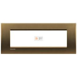 Рамка итальянский стандарт 7 мод прямоугольная, цвет Бронза, LivingLight, Bticino