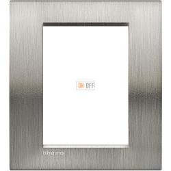Рамка итальянский стандарт 3+3 мод прямоугольная, цвет Сталь Фактурная, LivingLight, Bticino