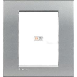 Рамка итальянский стандарт 3+3 мод прямоугольная, цвет Алюминий, LivingLight, Bticino