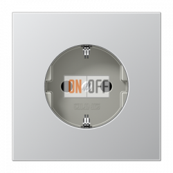 Розетка 1-ая электрическая , с заземлением и защитными шторками (безвинтовой зажим), цвет Алюминий (металл), LS990, Jung