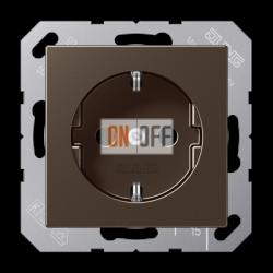 Розетка 1-ая электрическая , с заземлением и защитными шторками (безвинтовой зажим), цветМокка,A500,Jung