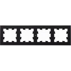 Рамка 4-ая (четверная), Стекло Матовое Черное, серия Atlas Design Nature, Schneider Electric