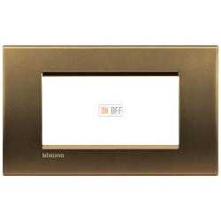 Рамка итальянский стандарт 4 мод прямоугольная, цвет Бронза, LivingLight, Bticino