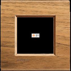 Рамка 1-ая (одинарная) прямоугольная, цвет Дерево Орех (европейский), LivingLight, Bticino
