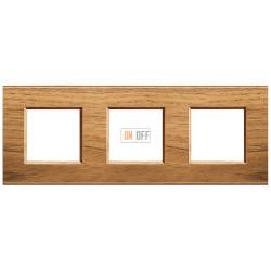 Рамка 3-ая (тройная) прямоугольная, цвет Дерево Орех (европейский), LivingLight, Bticino