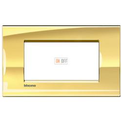 Рамка итальянский стандарт 4 мод прямоугольная, цвет Золото, LivingLight, Bticino