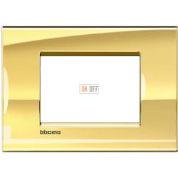 Рамка итальянский стандарт 3 мод прямоугольная, цвет Золото, LivingLight, Bticino