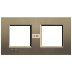 Рамка 2-ая (двойная) прямоугольная, цвет Коричневый шелк, LivingLight, Bticino