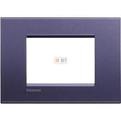 Рамка итальянский стандарт 3 мод прямоугольная, цвет Синий шелк, LivingLight, Bticino