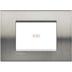 Рамка итальянский стандарт 3 мод прямоугольная, цвет Сталь Фактурная, LivingLight, Bticino