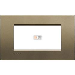 Рамка итальянский стандарт 4 мод прямоугольная, цвет Коричневый шелк, LivingLight, Bticino