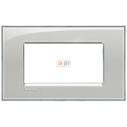 Рамка итальянский стандарт 4 мод прямоугольная, цвет Серое небо, LivingLight, Bticino