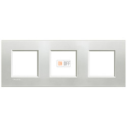 Рамка 3-ая (тройная) прямоугольная, цвет Серебро, LivingLight, Bticino