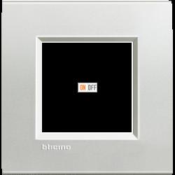 Рамка 1-ая (одинарная) прямоугольная, цвет Серебро, LivingLight, Bticino