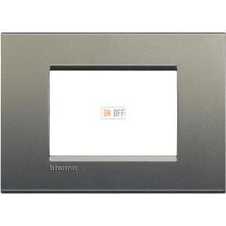Рамка итальянский стандарт 3 мод прямоугольная, цвет Серый шелк, LivingLight, Bticino