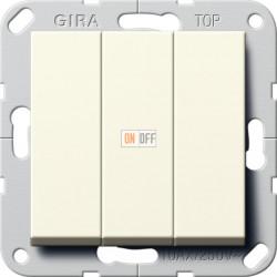 Выключатель 3-клавишный; кнопочный, цвет Бежевый, Gira