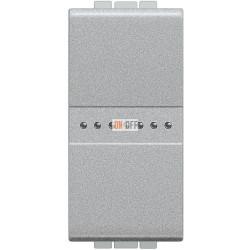 Установочный выключатель 1-клавишный, перекрестный (с трех мест) 1 мод Axial, цвет Алюминий, LivingLight, Bticino