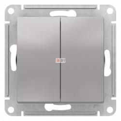Выключатель 2-клавишный, Алюминий, серия Atlas Design, Schneider Electric