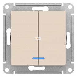 Выключатель 2-клавишный , с подсветкой, Бежевый, серия Atlas Design, Schneider Electric