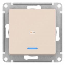 Выключатель 1-клавишный ,проходной с индикацией (с двух мест), Бежевый, серия Atlas Design, Schneider Electric