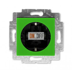 Розетка 1-ая электрическая , с заземлением и защитными шторками (безвинтовой зажим), цвет Зеленый/Дымчатый черный, Levit, ABB
