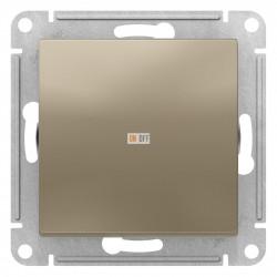 Выключатель 1-клавишный; кнопочный, Шампань, серия Atlas Design, Schneider Electric