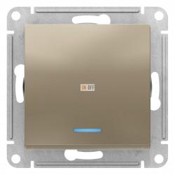 Выключатель 1-клавишный ,проходной с индикацией (с двух мест), Шампань, серия Atlas Design, Schneider Electric