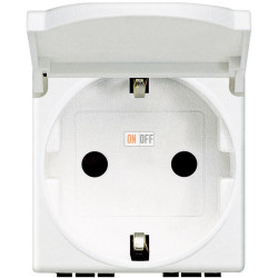 Розетка 1-ая электрическая , с заземлением и крышкой , цвет Белый, LivingLight, Bticino