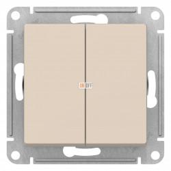 Выключатель 2-клавишный проходной (с двух мест), Бежевый, серия Atlas Design, Schneider Electric