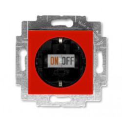 Розетка 1-ая электрическая , с заземлением и защитными шторками (безвинтовой зажим), цвет Красный/Дымчатый черный, Levit, ABB