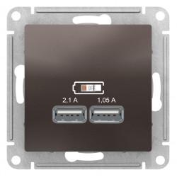 Розетка USB 2-ая 2100 мА (для подзарядки), Мокко, серия Atlas Design, Schneider Electric