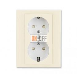 Розетка 2-ая электрическая с заземлением с защитными шторками, цвет Слоновая кость/Белый, Levit, ABB