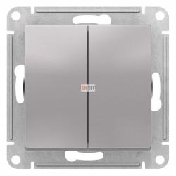 Выключатель 2-клавишный проходной (с двух мест), Алюминий, серия Atlas Design, Schneider Electric