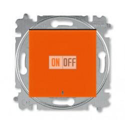 Выключатель 1-клавишный , с подсветкой, цвет Оранжевый/Дымчатый черный, Levit, ABB
