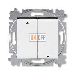 Выключатель для жалюзи (рольставней) кнопочный, цвет Белый/Дымчатый черный, Levit, ABB