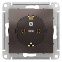 Розетка 1-ая электрическая , с заземлением (винтовой зажим), Мокко, серия Atlas Design, Schneider Electric