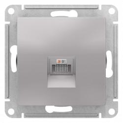 Розетка компьютерная 1-ая кат.5е, RJ-45 (интернет), Алюминий, серия Atlas Design, Schneider Electric