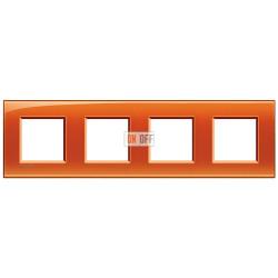 Рамка 4-ая (четверная) прямоугольная, цвет Оранжевый, LivingLight, Bticino