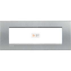 Рамка итальянский стандарт 7 мод прямоугольная, цвет Алюминий, LivingLight, Bticino