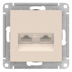 Розетка компьютерная 2-ая кат.5е, RJ-45 (интернет), Бежевый, серия Atlas Design, Schneider Electric