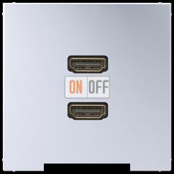 Розетка HDMI 2-ая (разъем), цвет Алюминий, LS990, Jung