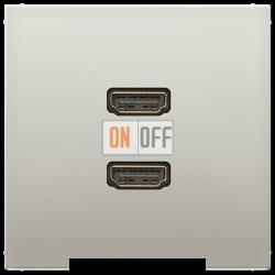 Розетка HDMI 2-ая (разъем), цвет Edelstahl (сталь), LS990, Jung