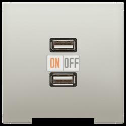 Розетка USB 2-ая (разъем), цвет Edelstahl (сталь), LS990, Jung