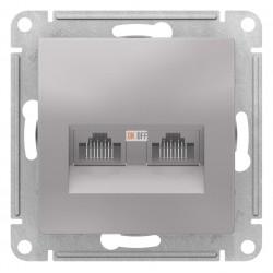 Розетка компьютерная 2-ая кат.5е, RJ-45 (интернет), Алюминий, серия Atlas Design, Schneider Electric
