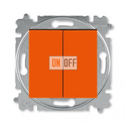 Выключатель 2-клавишный, цвет Оранжевый/Дымчатый черный, Levit, ABB