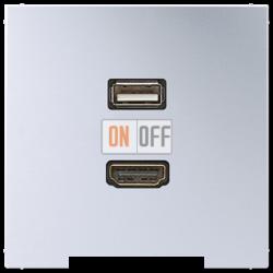 Розетка USB/HDMI (разъем), цвет Алюминий, LS990, Jung